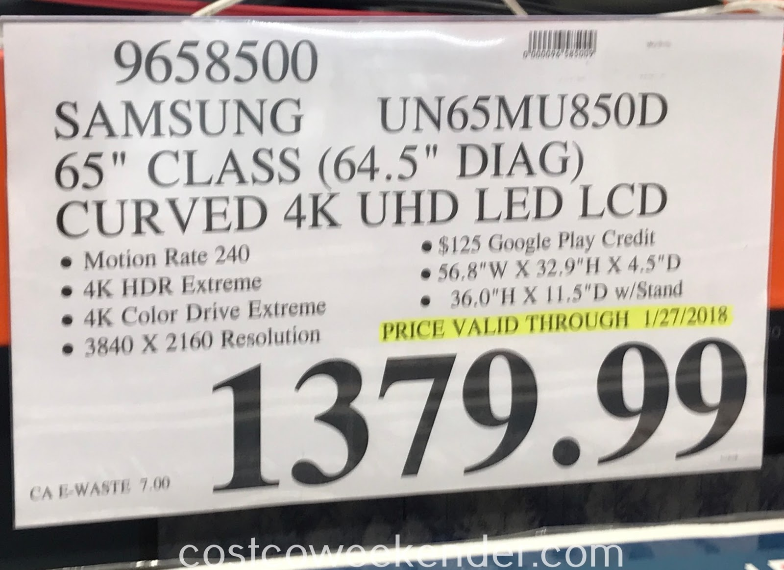 Deal for the Samsung UN65MU850D 65in Curved tv at Costco