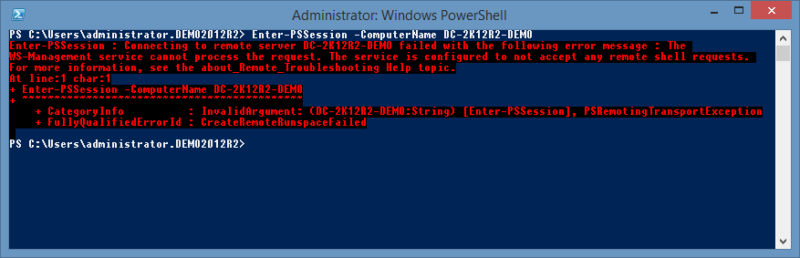 screenshot showing the error the ws-management service cannot process the request the service is configured to not accept any remote shell requests