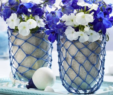 Blue Rope Net Wrapped Glass Vase