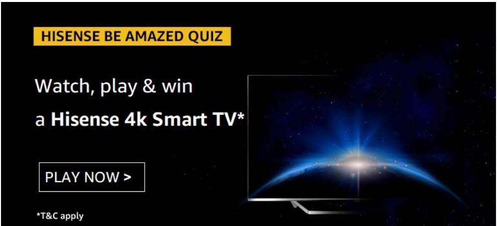 Amazon Hisense Be Amazed Quiz Answers