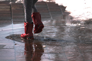 spring rains, rain boots, playing in the rain
