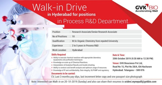 GVK BIO - Walk-In Drive for Process R and D on 20th Oct' 2019