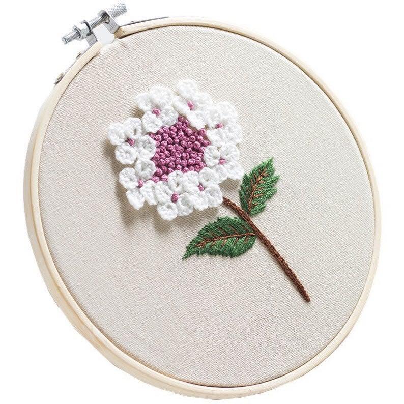 Thêu hoa cẩm tú cầu bằng mũi thêu sa hạt