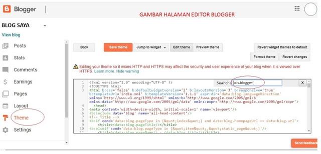 halaman editor HTML blogger