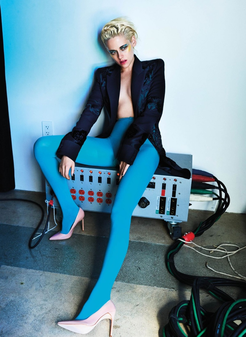 Kristen Stewart wears Alexander McQueen blazer, American Apparel tights and Manolo Blahnik heels