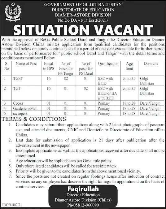 Education Department Diamer Astore Jobs in Gilgit Baltistan 2021