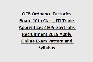 OFB Ordnance Factories Board 10th Class, ITI Trade Apprentices 4805 Govt jobs Recruitment 2019 Apply Online Exam Pattern and Syllabus