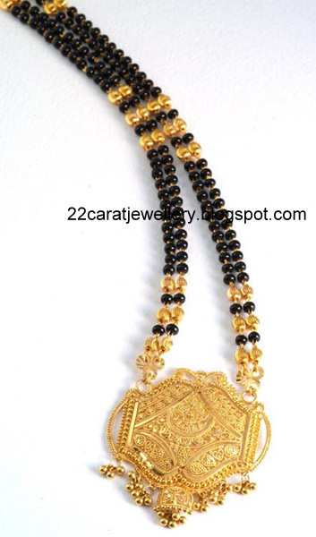 Pearl Jewellery Necklace >> 22 Carat Gold Black Beads(nallapusalu) Long Chain Designs 3 - Jewellery Designs