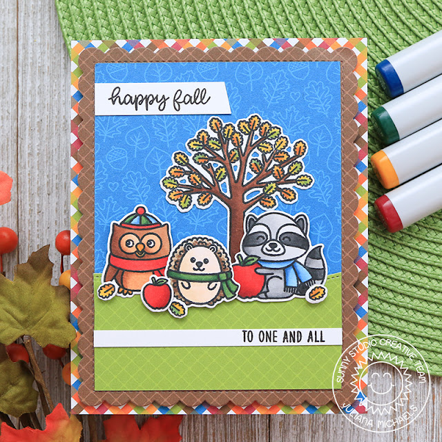 Sunny Studio Stamps: Woodsy Autumn Woodland Borders Frilly Frames Dies Fancy Frames Dies Fall Themed Card by Juliana Michaels