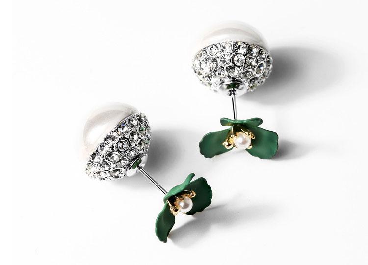閃亮小綠花水鑽球型耳環