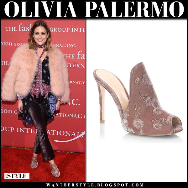 Olivia Palermo in beige fur coat, cropped velvet pants and pink velvet mules gianvito rossi red carpet fall fashion october 26 2017