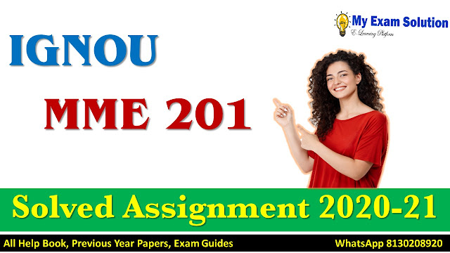 MME 201 Solved Assignment 2020-21