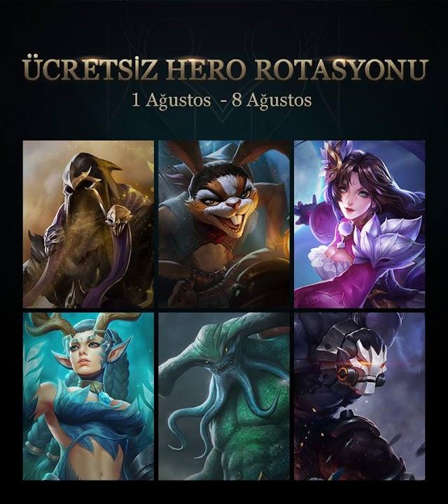 Arena of Valor 1 Ağustos - 8 Ağustos Ücretsiz Kahramanlar Hangileri?