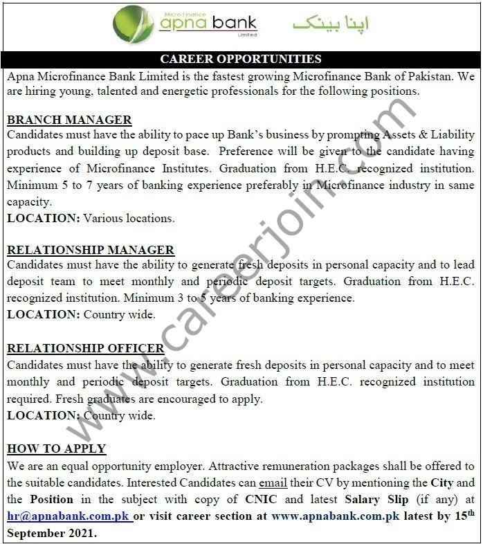 Apna Bank Latest Jobs 2021|How To Apply Online In Apna Bank|Apna Microfinance Bank Jobs|