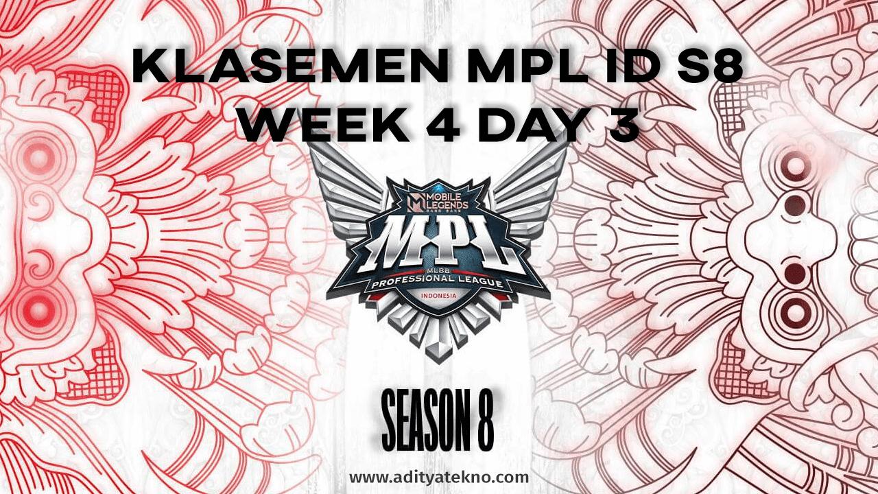 Klasemen MPL ID Season 8 - Week 4 Day 3