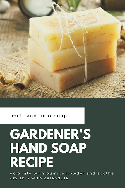 How to make gardener's soap with melt and pour soap. Soap making for beginners with this easy recipe. Soap recipes easy like this use glycerin soap, dried calendula petals, pumice powder, and essential oils. Make DIY soap at home to use yourself or give as a gift. This exfoliating soap removes grime and dirt.  Calendula is great for dry or irritated skin.  Make homemade soap and get soap ideas and soap recipe. #meltandpour #soap #soapmaking