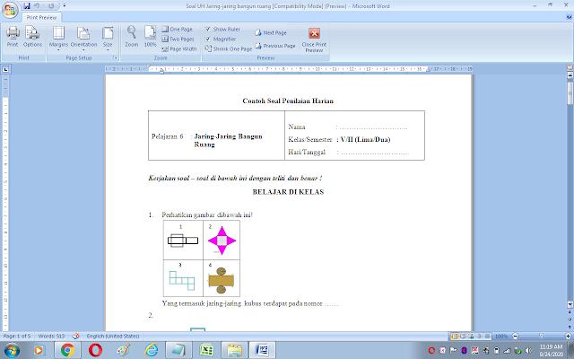 Soal ulangan harian matematika kelas 5 sd/mi: Jaring-jaring bangun ruang
