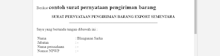 Contoh Surat Pernyataan Pengiriman Barang