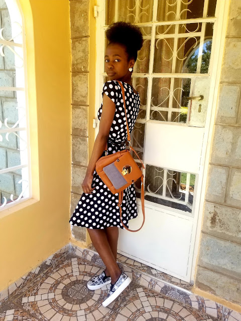 How To Wear A Polka Dots Dress With Slip-Ons