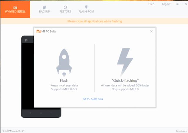 Klik Quick Flash Untuk Memulai Cara Dongrade MIUI dengan Mi PC Suite