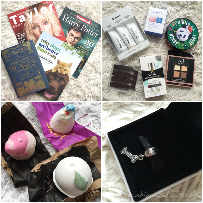 bbloggers, bbloggerca, canadian beauty bloggers, what i got for christmas, 2016, gifts, books, magazines, fantastic beasts, sephora, dr jart, the body shop, olay, lush cosmetics, penguin, candy mountain, so white, pandora, i love my dog charm, skincare, laneige
