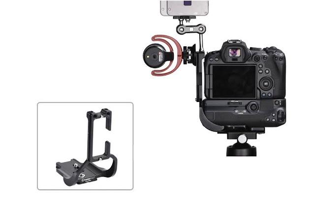 """Sunwayfoto PCL-R5G on EOS R5 w/ BG-R10 1/4"""" sockets use"""