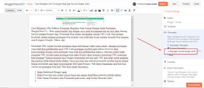 cara custom url address pada postingan blog