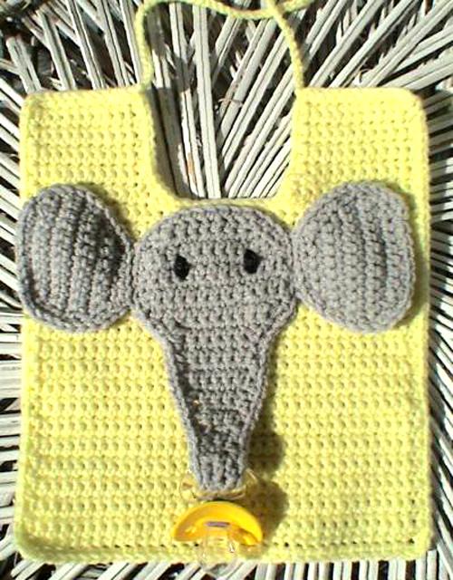 Elephant Pacifier Bib - Free Pattern