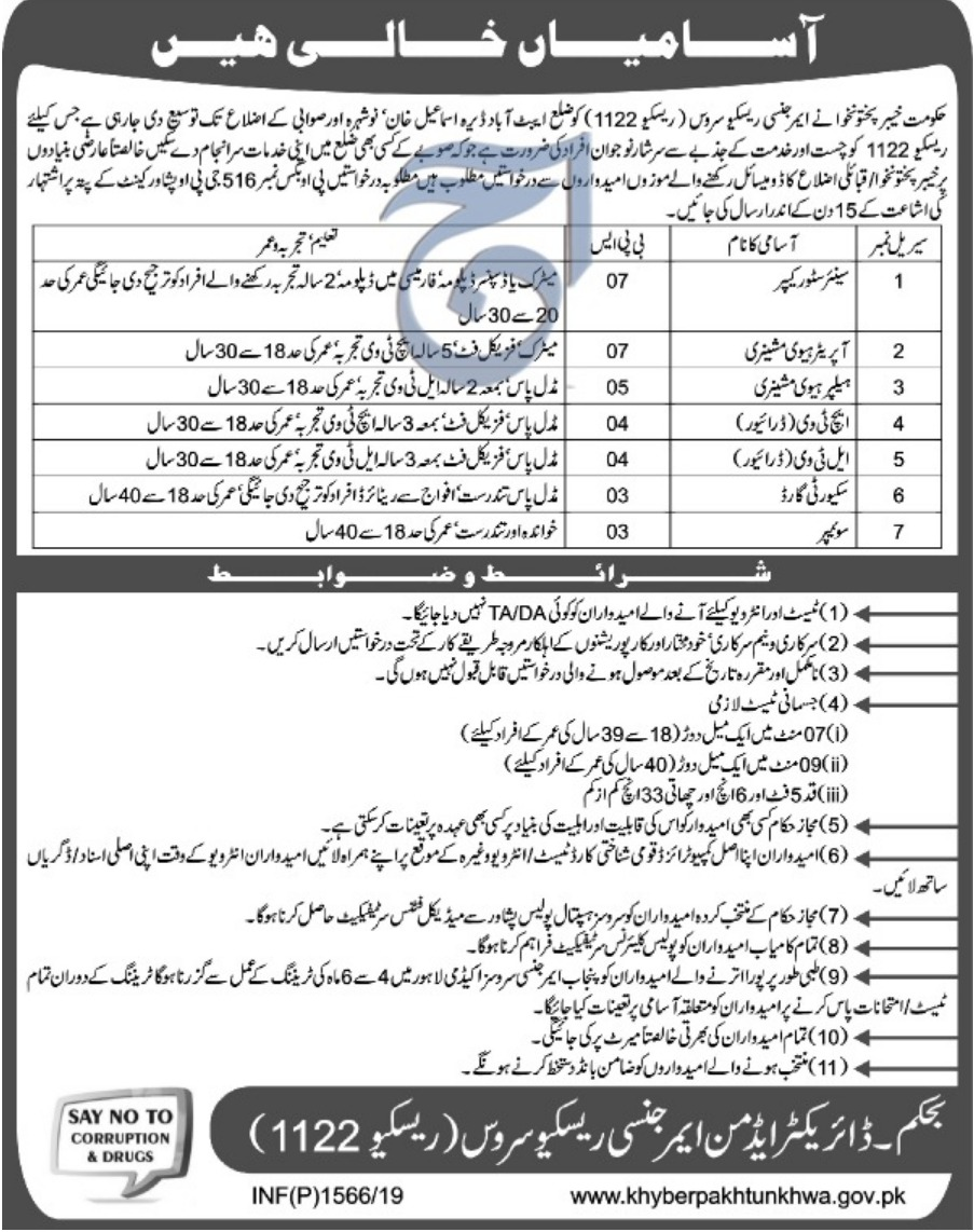 Rescue 1122 KPK Jobs 2019 | P.O.Box 516 Peshawar