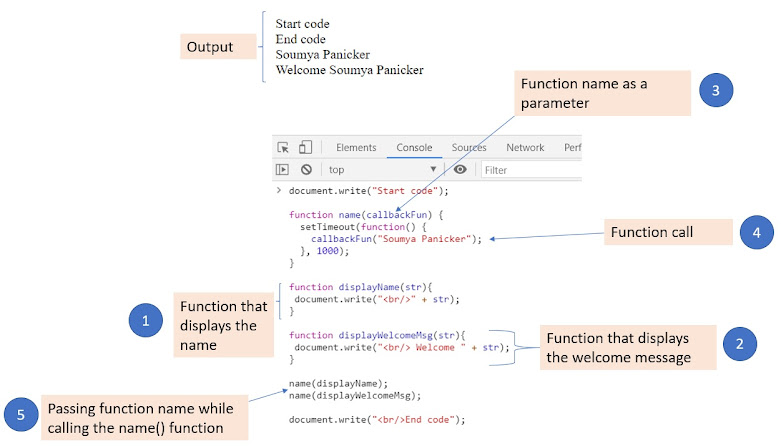 Callback example and output in the web console