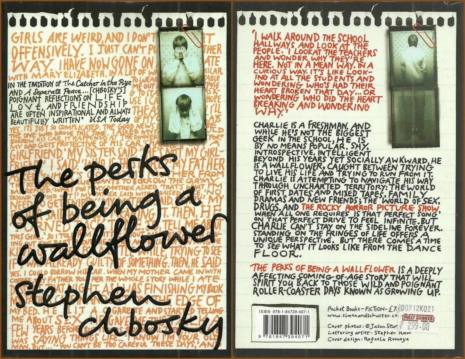 charlie s oib the perks of being a wallflower reading committee  the book cover and back