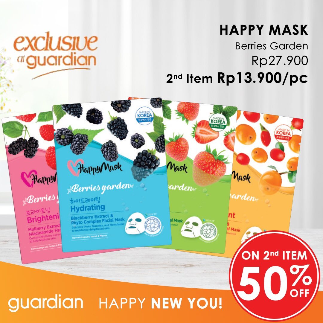 #Guardian - #Promo Diskon & Potongan Harga di Happy Mask (s.d 23 Jan 2019)