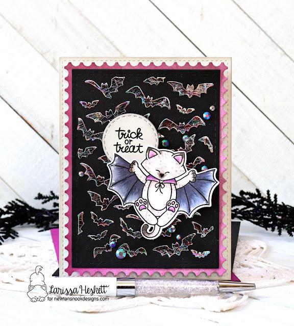 Halloween Card by Larissa Heskett | Batty Newton Stamp Set and Flying Bats Stencil by Newton's Nook Designs #newtonsnook #handmade