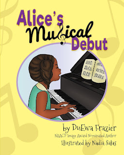 a black girl in a green dress sits at a black grand piano playing, and the words Alice's Musical Debut appear above the image, with name of author DuEwa Frazier underneath