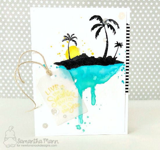 Watercolor Beach Card by Samantha Mann | Paradise Palms Stamp Set by Newton's Nook Designs #newtonsnook #handmade
