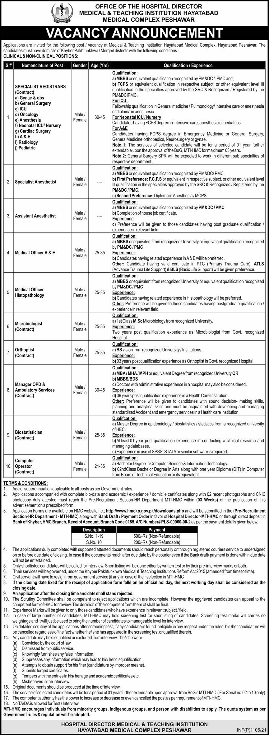 Hayatabad Medical Complex Jobs 2021 For Medical Staff