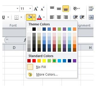 warna sel dengan fill color