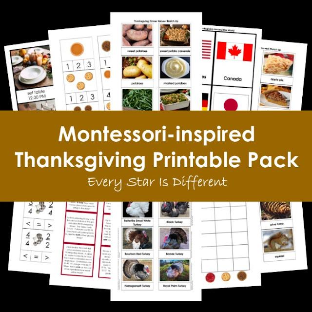 Montessori-inspired Thanksgiving Printable Pack