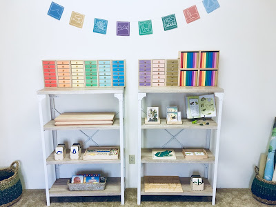 Montessori Language Space with materials on the shelves