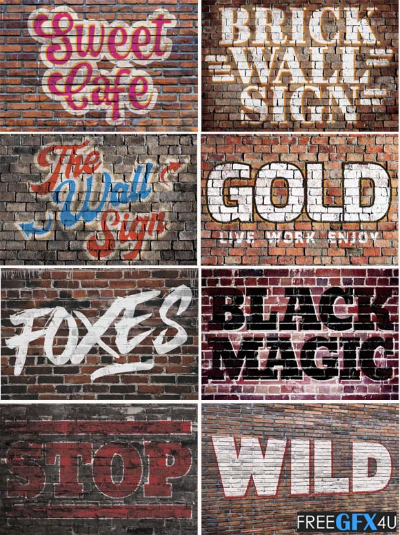 Realistic Brick Wall Signs PSD wallpaper