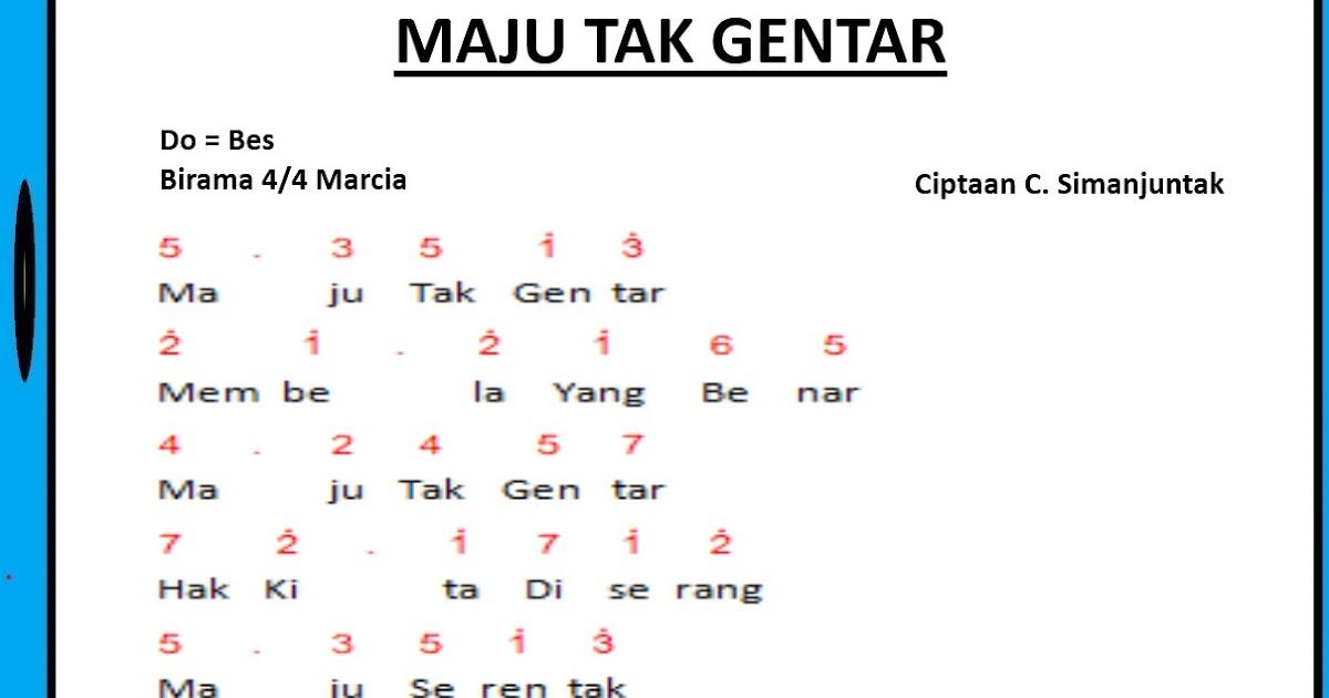 Not Angka Lagu Maju Tak Gentar Ciptaan C. Simanjuntak