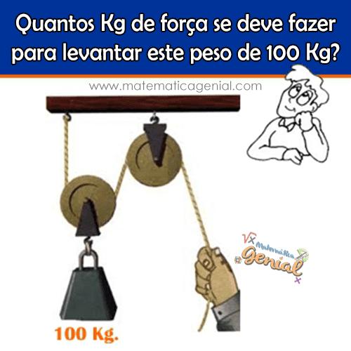 Desafio: Quantos Kg de força se deve fazer para levantar este peso de 100kg?