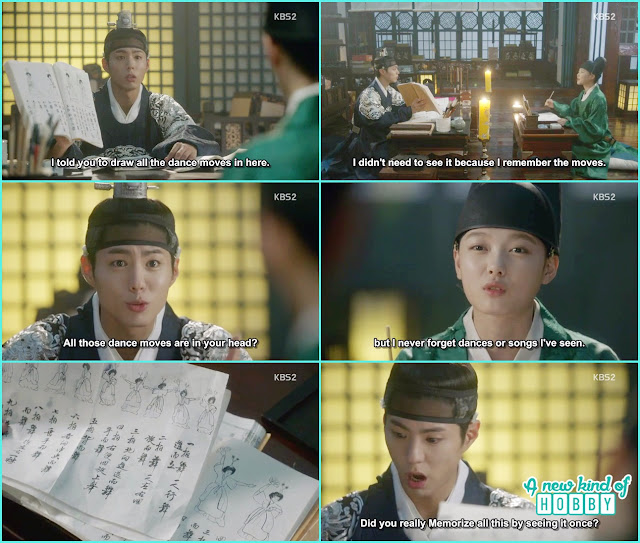 ra opn draw all the dance steps in her note bool and crown prince got amazed - Love in The Moonlight - Episode 4 Review
