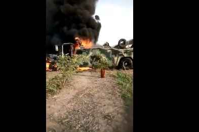 Nigerian Soldiers Ambushed By Boko Haram Cry And Curse Burutai, As MRAP Burns