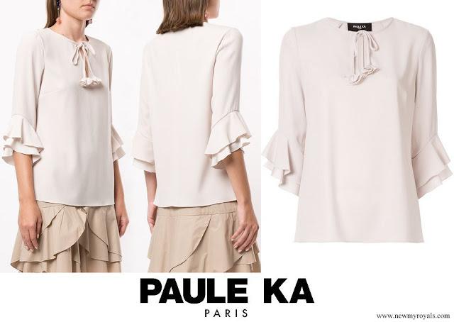 Princess Stephanie wore Paule Ka Ruffle Sleeve Blouse