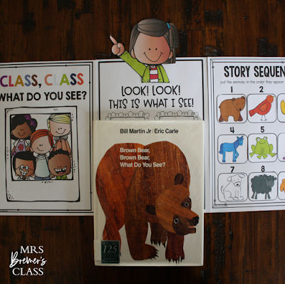 Brown Bear book study companion activities, class book, and craftivity for K-1