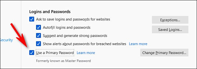 """في خيارات تسجيل الدخول وكلمة المرور في Firefox ، قم بإلغاء تحديد """"استخدام كلمة المرور الأساسية""""."""