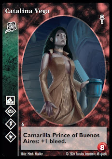 Cataline Vega, 8-capacity, Toreador vampire with superior Auspex, superior Celerity, superior Presence, and inferior Fortitude.  She is the Prince of Buenos Aires and has +1 bleed.