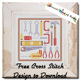 Cross Stitch Tool Box Sampler featuring Cross Stitch Drill and C-Clamps