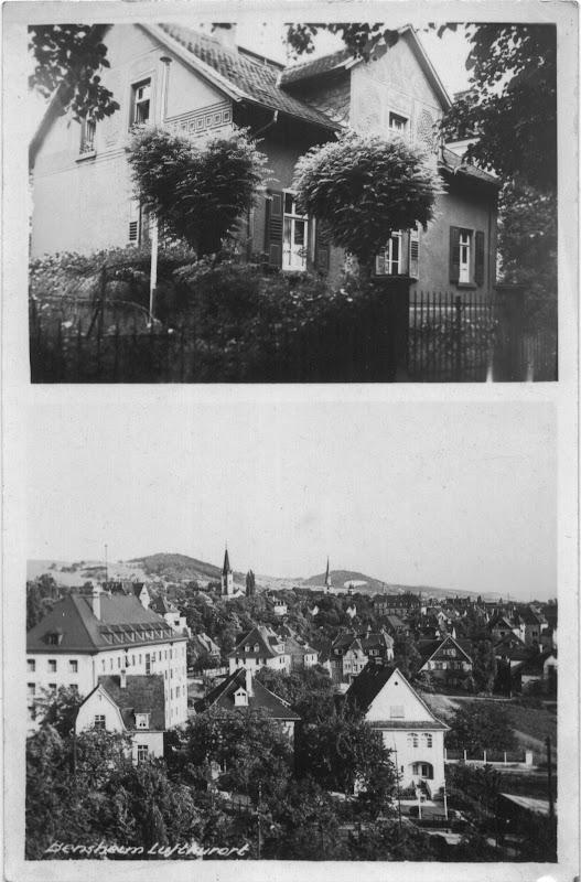 Personalisierte Postkarte ca. 1930, Ansicht oben: Darmstädter Straße 50 Ansicht unten: Blickrichtung auf Bensheim Südosten (Standort: vermutlich AKG), Quelle: Nachlass Joseph Stoll